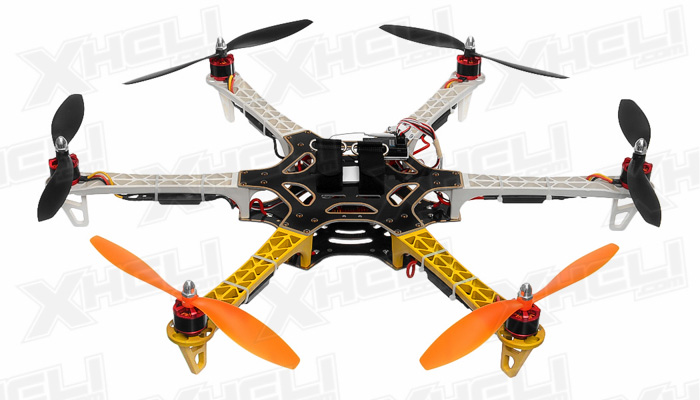 AeroSky 550 RC 6 Channel Hexacopter Almost Ready to Fly (Yellow)