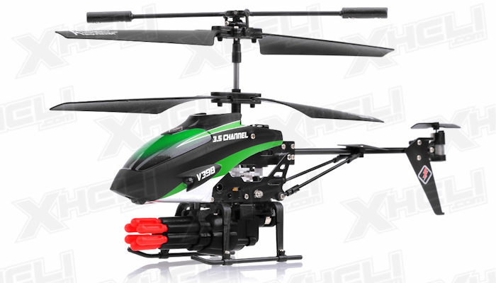 V398 3.5 Channel Missile Shooting RC Helicopter RTF with Six Missiles rapid fire (Green)