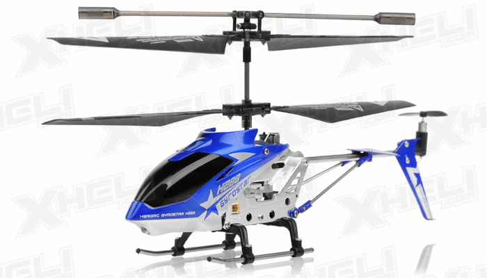 Hero RC H288 Gyro Star RC Remote Control 3 channel Metal Micro Helicopter Genuine and Manufactured by Syma S107/S107G OEM w/ bonus blades, balance bar, connect buckle, tail blade & tail decoration(Blue)