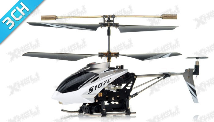 Syma S107C 3channel Coaxial Mini Spy Cam Helicopter (White)